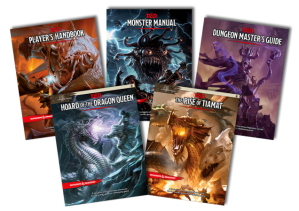 The current collection of D&D 5th Edition books by Wizards of the Coast